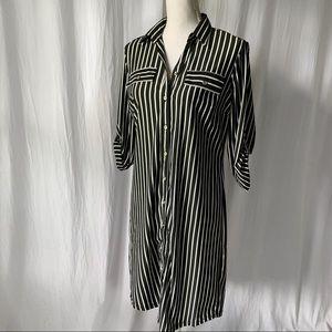 Mlle Gabrielle Striped Button-down Shirt Dress NWT